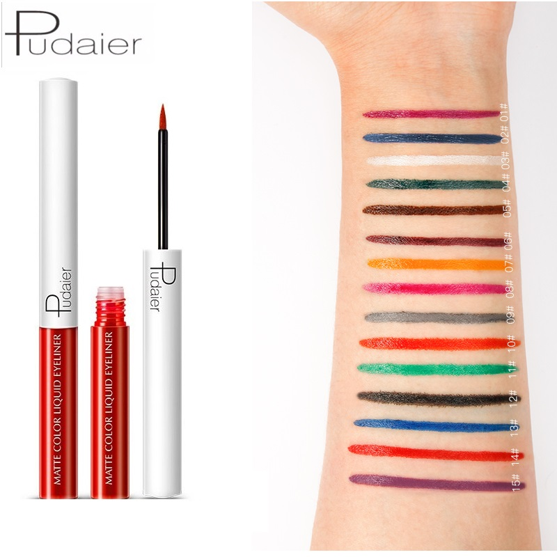 Pudaier 15 Color Multicolor Long Lasting Waterproof Liquid Eyeliner Pencils Matte Eye Liner Makeup Pen Pigment Eye Pencil TSLM2