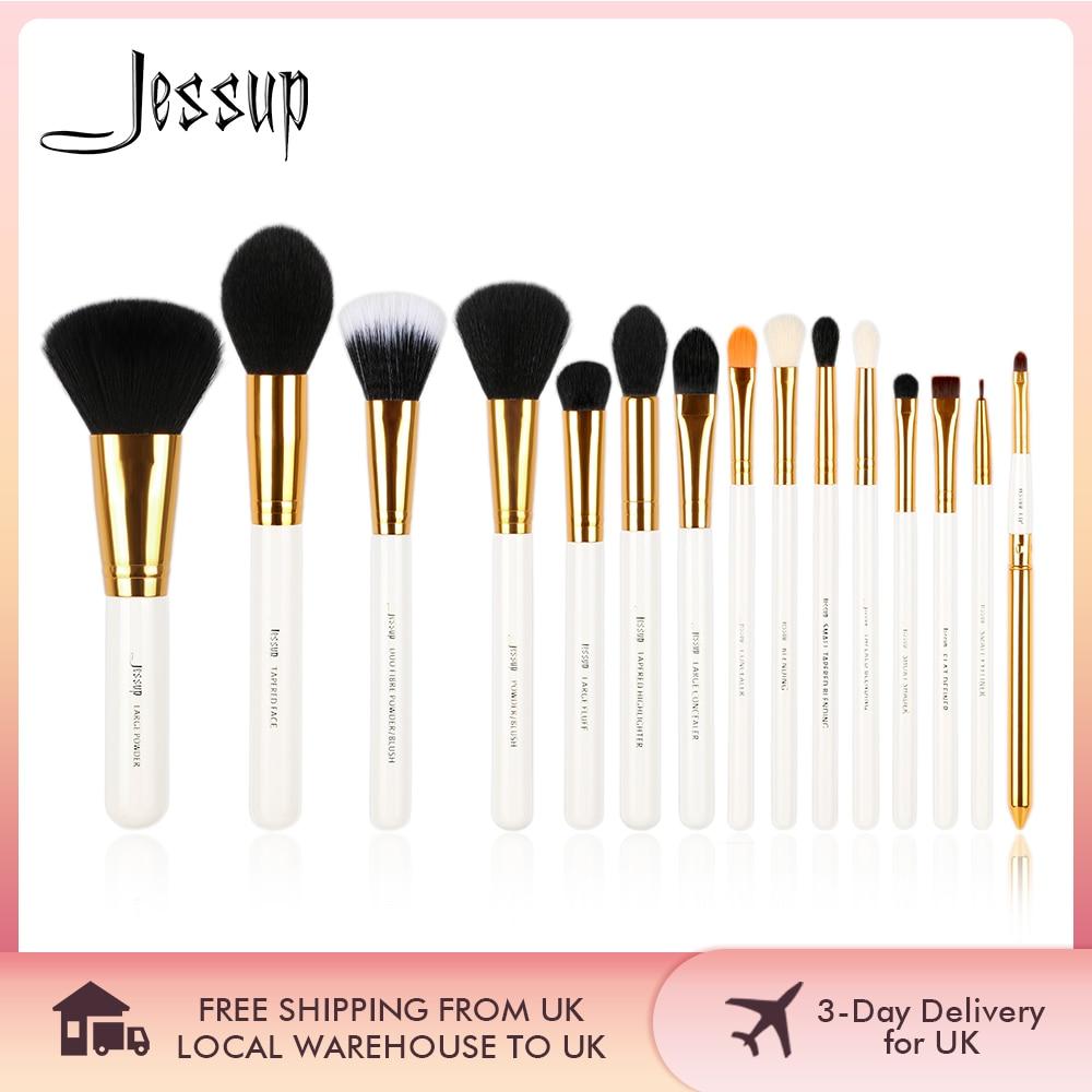 Jessup brochas de maquillaje 15 uds, cepillos de base de polvo, set de brochas de maquillaje, sombra de ojos, delineador de ojos, herramienta de labios, cosmético Blanco/dorado de belleza|brush tool|makeup brush setbrush set - AliExpress