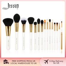 Jessup pinceaux 15 pièces pinceaux de maquillage poudre fond de teint maquillage ensemble de pinceaux fard à paupières Eyeliner lèvre outil blanc/or cosmétique beauté