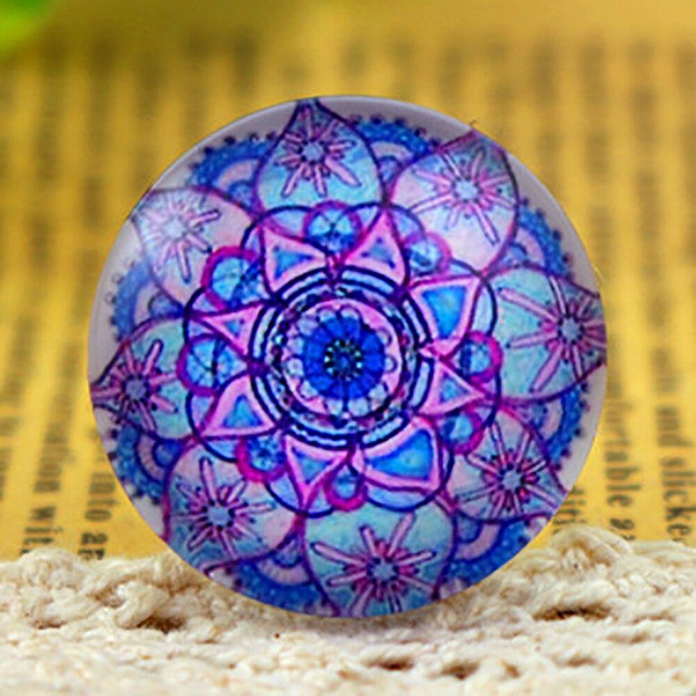 New Fashion  5pcs/Lot 25mm Handmade Photo Glass Cabochons (Blue Patterns) F3-13
