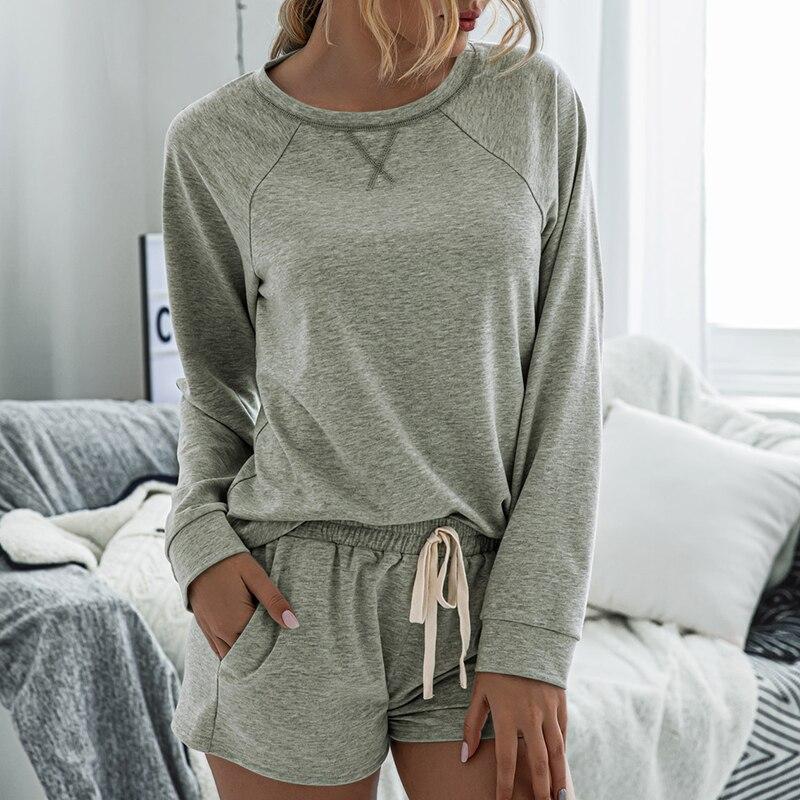 Home Wear Sleepwear Fashion Spring Summer Loungewear Women Pajama Set New Long Sleeve Nightgowns &sleepshirts Pyjamas CDR2047