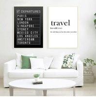 Cartel de destino de la tabla del aeropuerto, lienzo de pintura, arte de pared, luna de miel, citas de viaje, fotos, decoración del hogar (se acepta personalización)