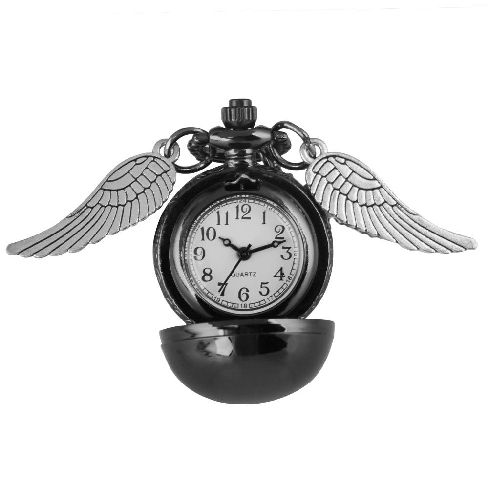 Classic Ball Wings Pocket Watch Girls Classic Quartz Necklace Pendant Watch For Kids Birthday Gift Reloj De Bolsillo Mujer