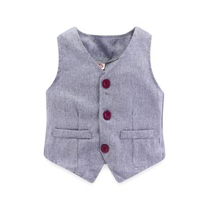 Image 3 - 子供少年服紳士グレーベスト + 長袖白シャツ + パンツ子供 4 ピーススーツスーツ子供のための衣装