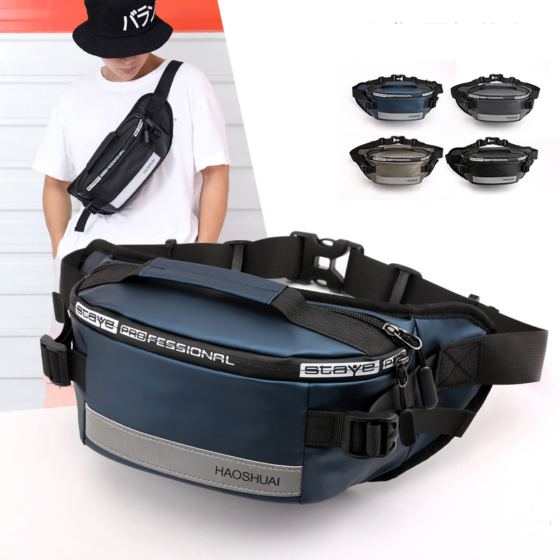 Anti-theft Male Belt Close-Fitting Waist Bags Multi-Functional Hip Bum Reflective Strip Shoulder Bag  Men Nylon Fanny Chest Pack
