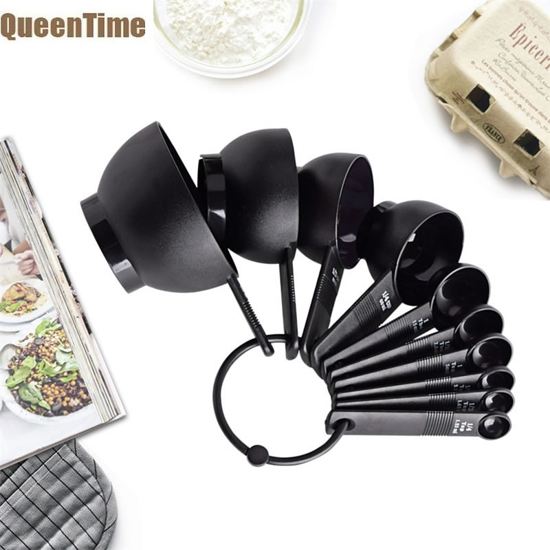 QueenTime 10Pcs Measuring Cup with Measurement Plastic Cookie Scoop Spoons Set Coffee Bean Teaspoon Kitchen Baking Pastry Tools image