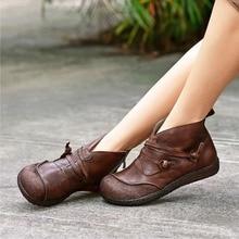 2019  Autumn New Vintage Side Zipper Women Shoes Comfortable Flat Heel Boots Female Short Leather Ankle