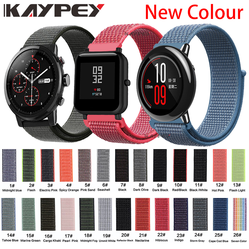 22mm 20mm Nylon Band For Xiaomi Huami Amazfit Bip Pace Stratos 2/2s Strap Wrist Nylon Loop Velcro Strap Smart Watch Accessories