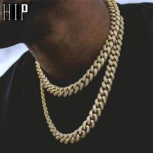 Хип-хоп 1 комплект 13 мм золото полностью покрытое льдом Стразы Майами Снаряженная кубинская цепочка CZ сверкающие ожерелья для мужчин ювелир...