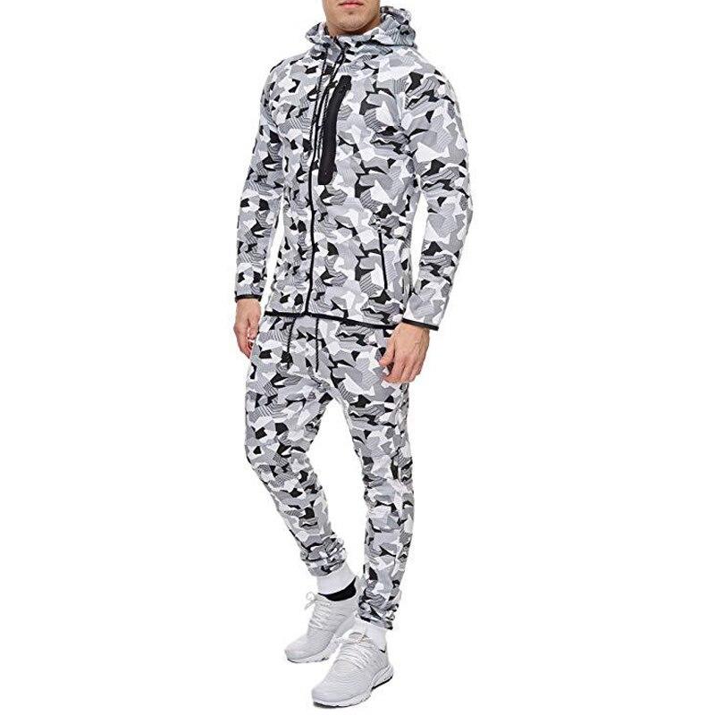 2019 Autumn Camouflage Hoodies Men Zipper Cardigan Hooded Sweatshirts pants 2 pieces Print Sportswear Men 39 s Slim Fit Tracksuit in Men 39 s Sets from Men 39 s Clothing