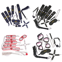 8pcs/set Handcuffs Whip Gag Ankle Cuffs Collars Leash Kit Sex Toys For Couples Bondage SM Tool Plush Restraints Set Eye Mask Toy