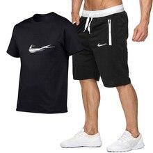 Conjunto masculino marca camisa 2021 novo manga curta pullover sportwear esporte desportivo