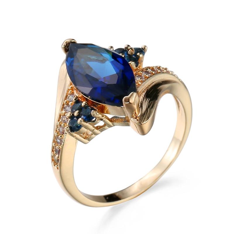 Женское кольцо с фианитом, позолоченное кольцо с синим сапфиром
