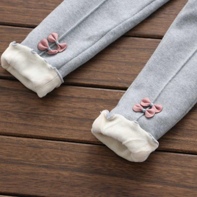สาวใหม่กางเกงเด็กฤดูหนาว Thicken Outwear กางเกง Bow เด็กขนแกะกางเกงสบายๆ Trousers2-8year