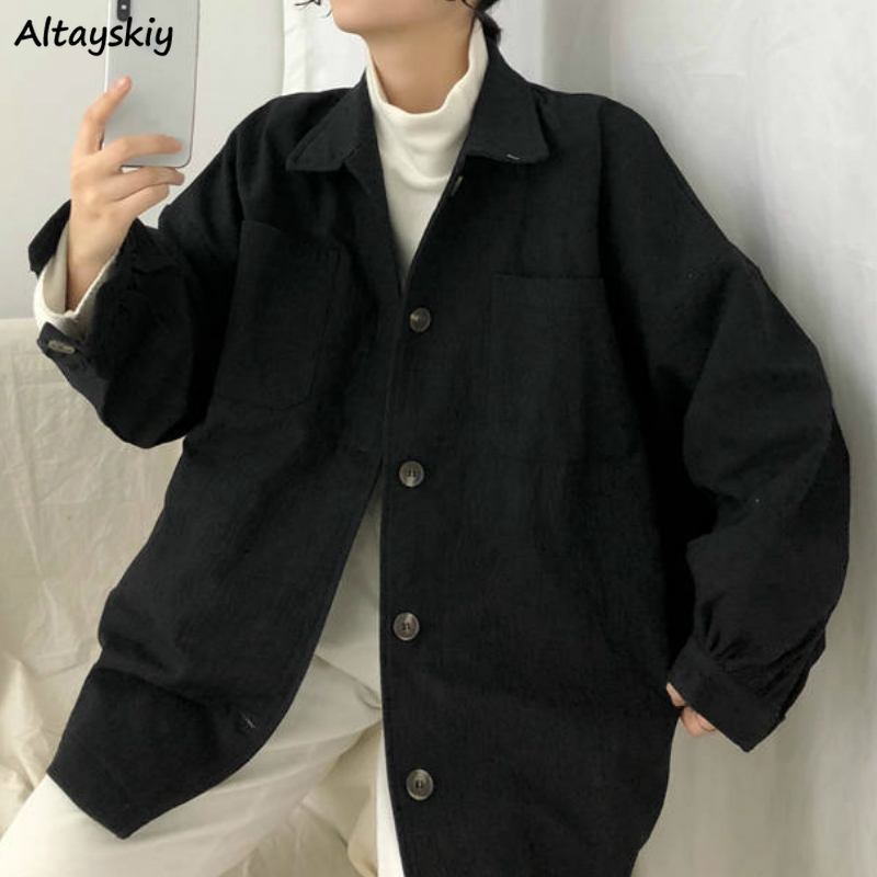 Basic Jackets Women New Oversize Spring Harajuku Retro Loose All-match Leisure Ulzzang Female Jacket Solid Chic Button Outerwear