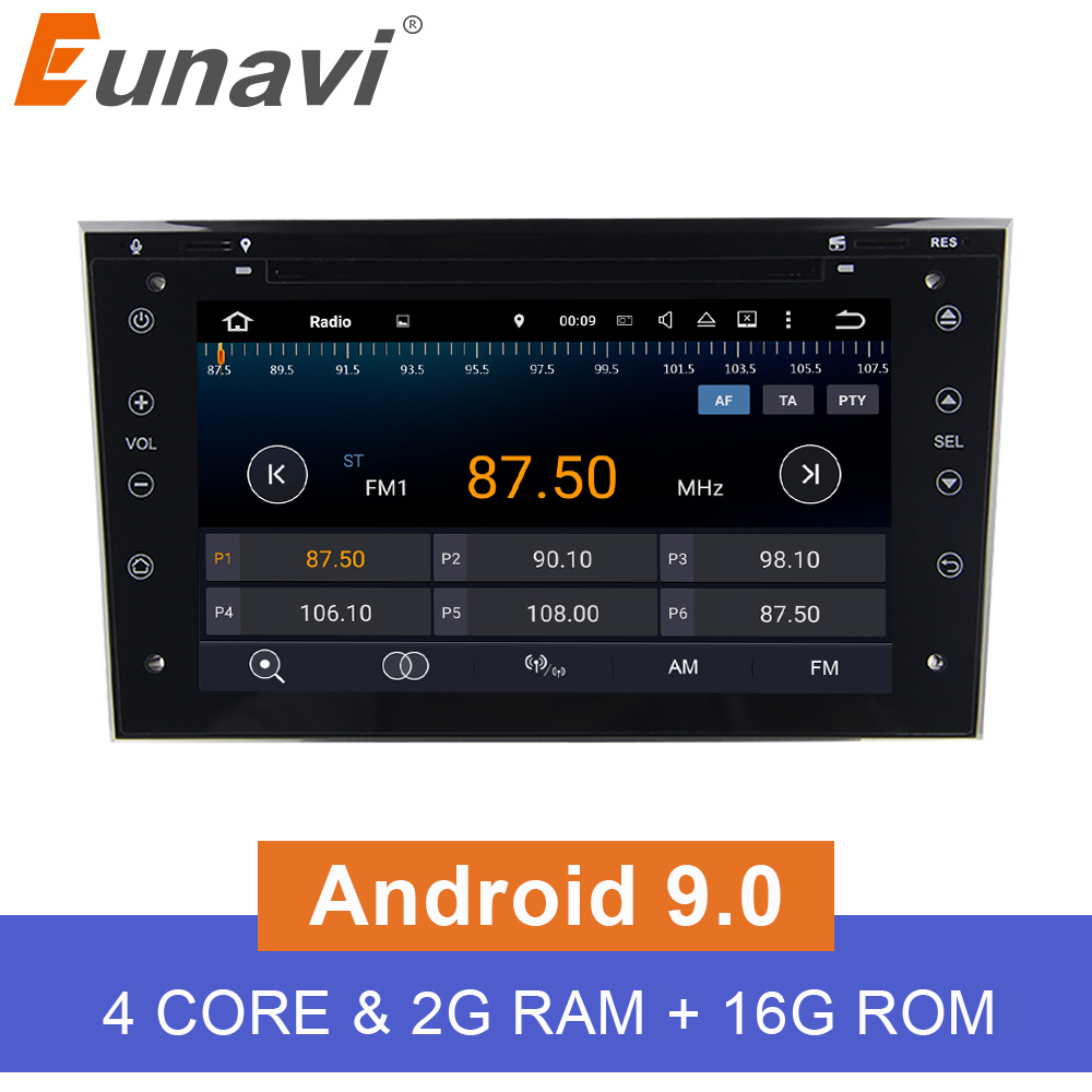 Eunavi Quad Core 2 din Android 9.0 Auto Radio GPS Navigation Stereo für Vauxhall Opel Astra H G Vectra Antara Zafira corsa 2G RAM