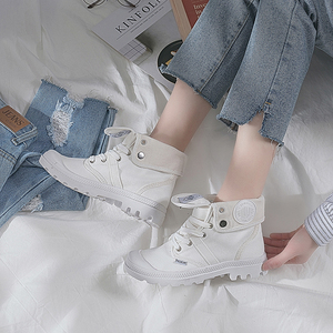 Image 3 - AT UR HAND 2019 Fashion Sneakers Female High Top Canvas Shoes Women Casual Shoes White Flat Female Lace Up Solid Trainers