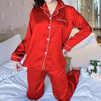 2PCS Pajamas Sets Women Lapel Imitation Silk Long Sleeve Home Wear Ladies Mujer Sexy Satin Tops+Pants Nightgown Sleepwear Autumn