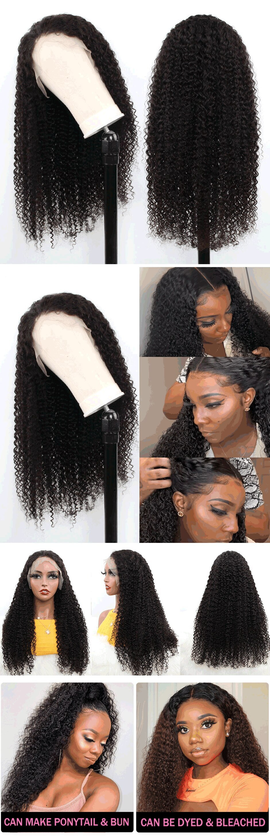 Mongolian Kinky Curly Wigs For Women Lace Frontal HAIR Curly Lace Closure Wig 180% Density Curly Lace Front Human Hair Wigs