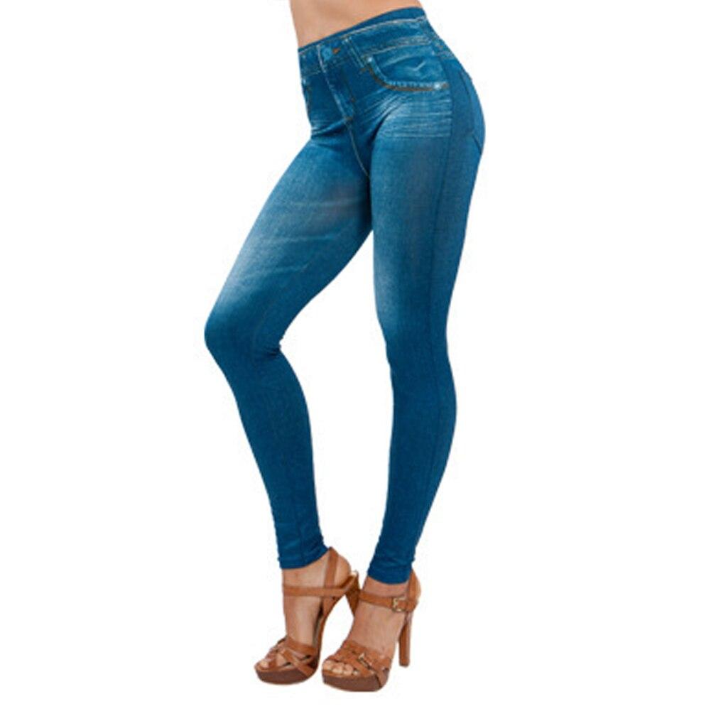 Women Legs Shaping Leggings Fake Jeans Pants Pull-on Skinny Elastic Trousers DIN889