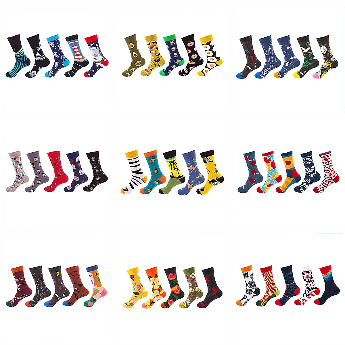 Combed Cotton Men Fashion Trend Crew Socks Funny Shark Plant Animal Art Man Novelty Long Socks Happy Woman Cartoon Socks