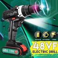 48VF 3 In 1 Akkuschrauber 2-Speed Auswirkungen Bohrer 25 + 1 Drehmoment Werkzeug Akku Elektrische bohrer DIY Werkzeuge