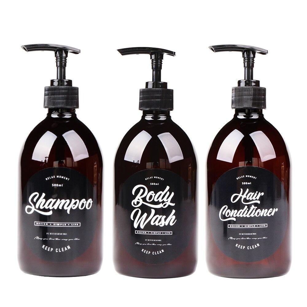 500ml Soap Dispenser For Shampoo Body Wash Hair Conditioner Scandinavian Liquid Storage Bottles Bathroom Washing Set Brown