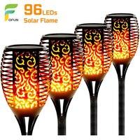 Lámpara de llama Solar para exteriores, luces parpadeantes impermeables de seguridad para decoración de jardín automática al atardecer, 96 LED