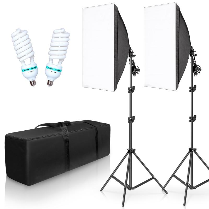 Photography Lighting Kit Photo box Professional Studio Continuous Equipment with 2 Bulbs E27 Socket  50cm*70cm Softbox 1