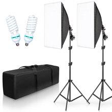 Kit éclairage photographie boîte Photo Studio professionnel équipement continu avec 2 ampoules E27 douille 50cm * 70cm Softbox