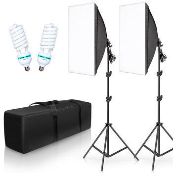 Photography Lighting Kit Photo box Professional Studio Continuous Equipment with 2 Bulbs E27 Socket  50cm*70cm Softbox