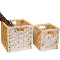 Grande cesta de armazenamento cesta de vime cesta de tecido de lavanderia pequena cesta de armazenamento decorativo caixa de vime diversos organizador wasmand