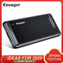 Essager 10000 mAh Power Bank Slim USB 10000 mAh Powerbank แบบพกพา External Charger Pack สำหรับ Xiao Mi Mi 3 iPhone PoverBank(China)