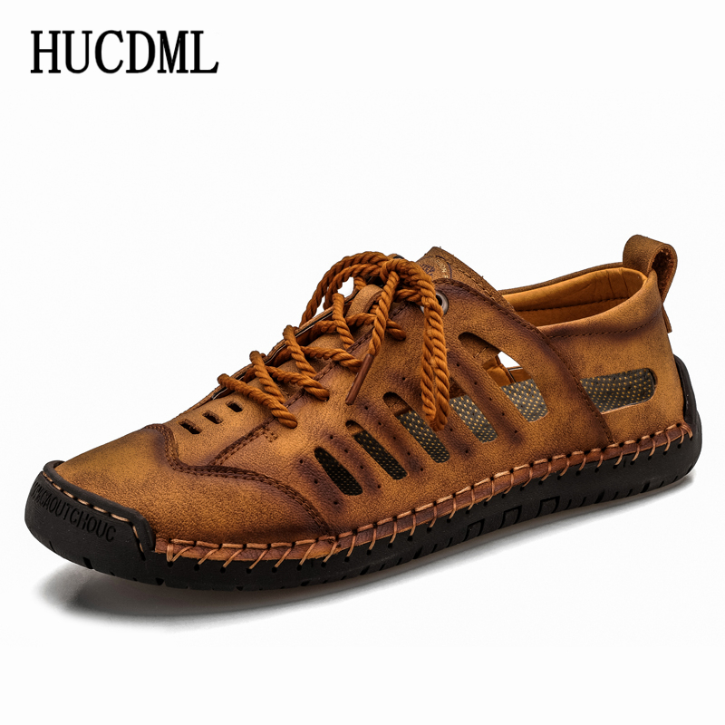 HUCDML Summer Men Leather Casual Shoes Hollow Breathable Soft Moccasins Flats Lace Up Mens Shoes Big Size 38-48
