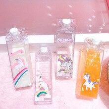 Unique Mini Cute Water Bottles Milk Box Shape Transparent Plastic Cartoon Pink Unicorn Drink Bottle Coffee Beer Drinkware