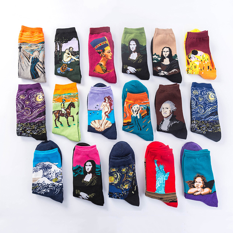 Hot Sale Classic Autumn Winter Retro Starry Sky Cotton Socks World Famous Painting Oil Painting Socks Tube Socks