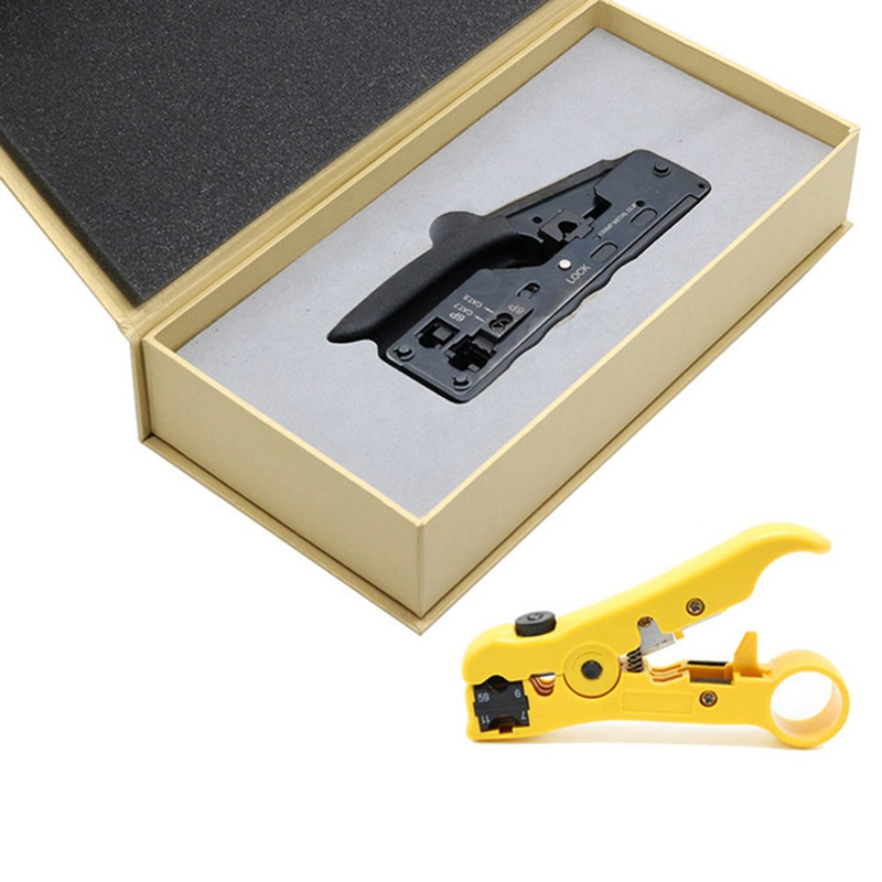 RJ45 Crimper For Cat7 Cat6A Plug Network Tools Crimping Cable Stripper Clamp 8P8C Pliers Multifunctional Crimp Clip