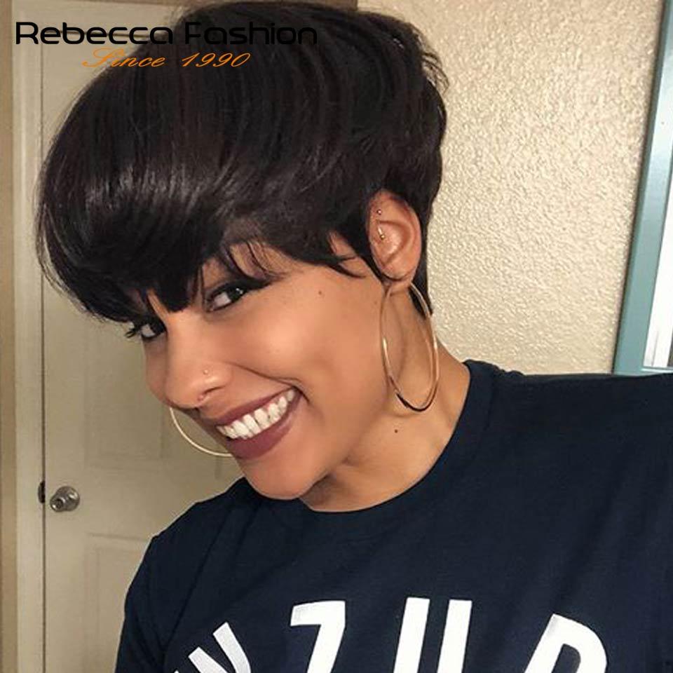 Короткие парики с челкой Ребекка Боб, парики из бразильских человеческих волос с вырезанными волосами, недорогие красные и коричневые пари...