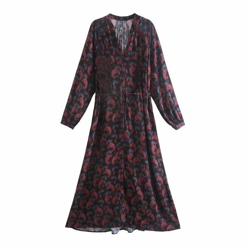 Женские повседневные Длинные Платья с цветочным принтом, сезон весна-лето 2021, женское модное платье с V-образным вырезом и длинным рукавом
