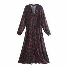 2021 mujeres casuales de primavera y verano largo Floral vestidos espiral impreso cuello en V de Vestido de manga larga de mujer de moda