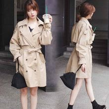Windbreaker Women'S Autumn New Korean Version Of The Long Section Loose Casual Thin Section Hong Kong Style Retro Jacket Khaki(China)