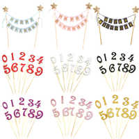 0-9 Number Happy Birtay Cake Topper Cupcake Toppers Flag Banner Birtay Cake Wedding Party Decoration Baby Shower Boy Girl