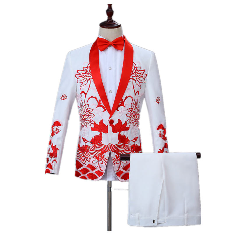 Banquet Prom Suit Men's Fashion Solid Color Suit Set (coat+pant) Slim Shawl Collar Lapel Fish Embroidery One Button Casual Suit
