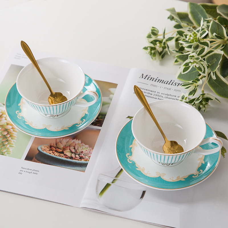 European coffee cup set with blue stripe British bone china    ceramic