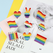 Love Pride Rainbow Pins Heart Gay Enamel Pin Flags Pencil Sheep Brooches Intersex Badge Clothes Lapel Pins Couple Jewelry Gift