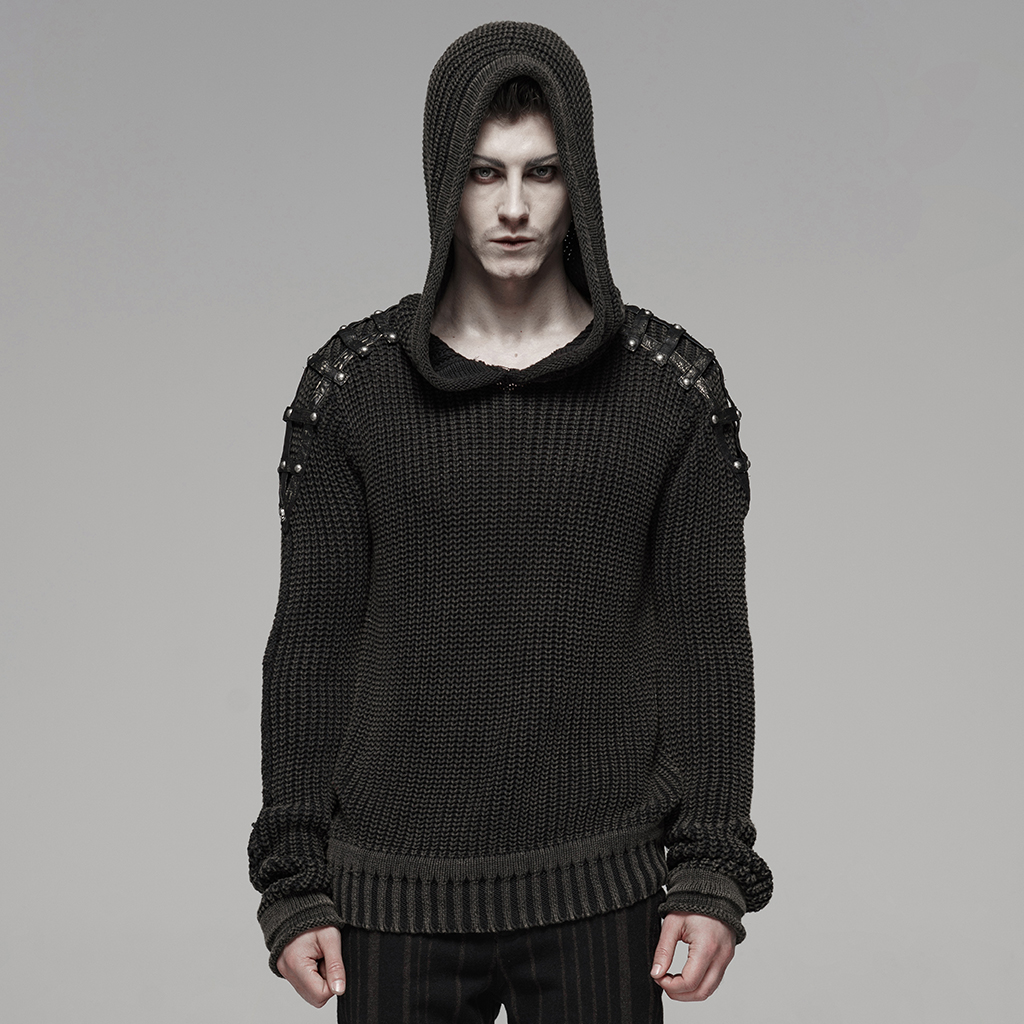 PUNK RAVE Men Punk Vintage Hooded Sweater Cotton Wool Knit Old Water Wash Texture Pu Leather Decoration Hooded Sweater