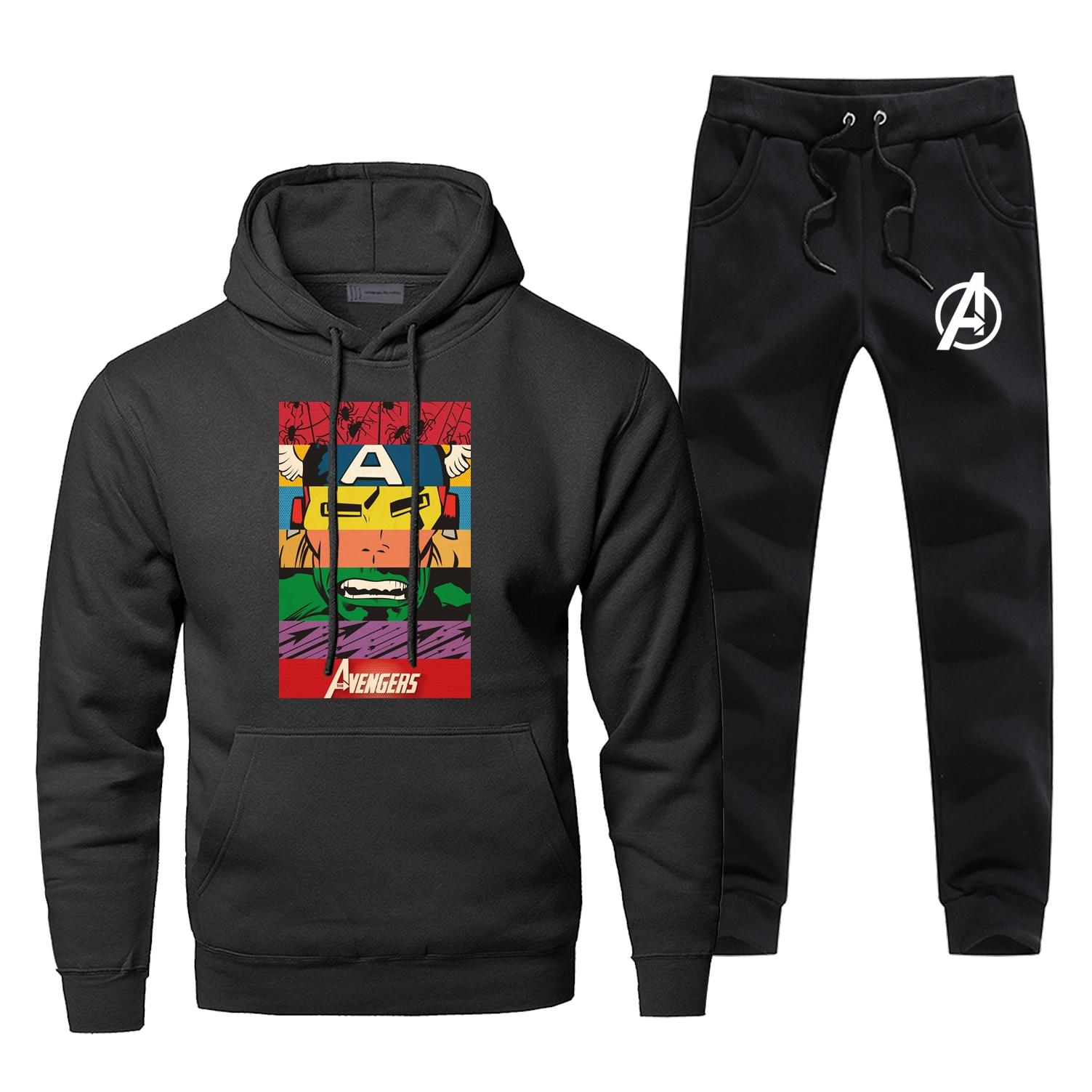 Marvel Movie Avengers Superhero Sweatshirts Mens Avenger Face Printed Hoodies+pants Sets Men Sportswear Harajuku Streetwear