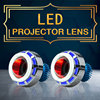 High Quality Motorcycle Bi-xenon LED Projector High Low Beam Headlight Blue + White Halo Ring + Red Devil Eye Motorcycle Styling