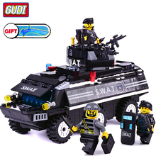 GUDI Legoingly SWAT Armored Vehicles Blocks 349pc Bricks Building Block Sets Model Educational Toys For Children Compatible with lepin 16004 2232pcs simpsons kwik e mart action model educational building block bricks compatible 71016 toys for children gift