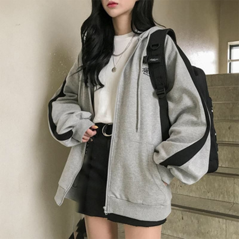 Zip-up Women Korean Style Hoodies Vintage Solid Color Long Sleeve Oversized Hooded Sweatshirt Lady Women Casual Large Coats 9
